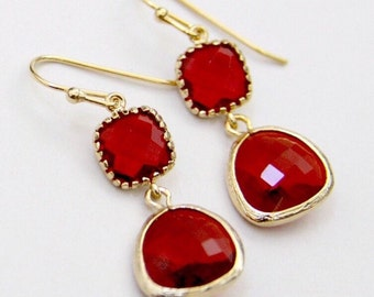 Ruby Red and Gold Christmas Earrings / Cranberry Double Drop Earrings /Dark Red Dangle Earrings/ Xmas Holiday Earrings