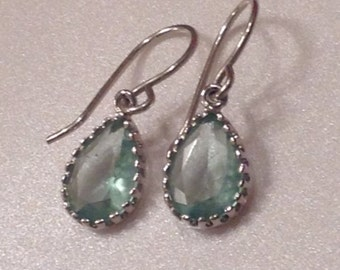 єrinite єarrings/Aqua Blue Ŧгσʑєภ  Earrings / Pale Seafoam or Green Amethyst Earrings / Aquamarine Bridesmaid Earrings