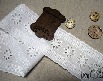 """1y Broderie Anglaise cotton Eyelet lace trim 2.2"""" (5.5cm) YH1478 laceking2013"""