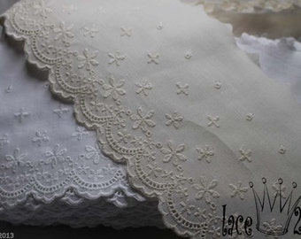 14Yds Embroidery scalloped Broderie Anglaise cotton eyelet lace trim -11cm YH1162 laceking2013