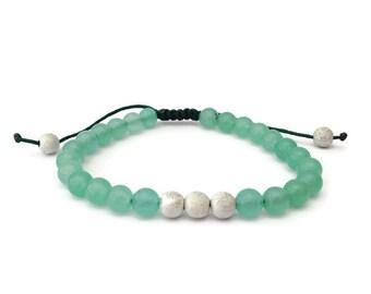SALE - Green Amazonite Round Gemstone Friendship Bracelet, Amazonite Bracelet, Beaded Bracelet, Gemstone Bracelet, Green Jewellery, BFF, UK