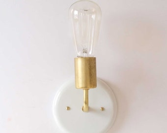 Wall sconce modern lighting white and brass