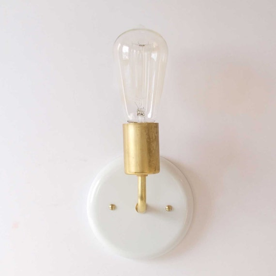 Gloss White Wall sconce modern lighting white and brass
