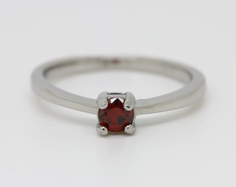 Garnet Solitaire engagement ring - in white gold or titanium - wedding ring - gemstone ring