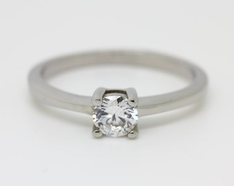 White sapphire Solitaire engagement ring in white gold or titanium - wedding ring - gemstone ring