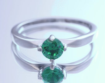 Natural Emerald solitaire ring - Available in white gold or titanium- engagement ring - wedding ring
