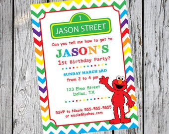 PERSONALIZED Printable Invitation - Sesame Street Invitation - Printable invitation -  Elmo Invitation -  Elmo birthday invitation - Any Age