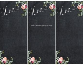 printable chalkboard menu, chalkboard wedding party menu, menu blank template,  you print, floral menu, digital menu