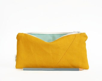 Back to school: Canvas pencil case, mustard yellow, pencil bag, Canvas bag, Zipper pouch, fully lined