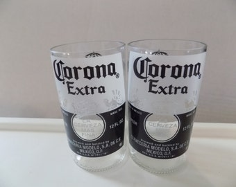 Upcycled Corona Extra Beer Bottle Drinking Glasses Set of 2