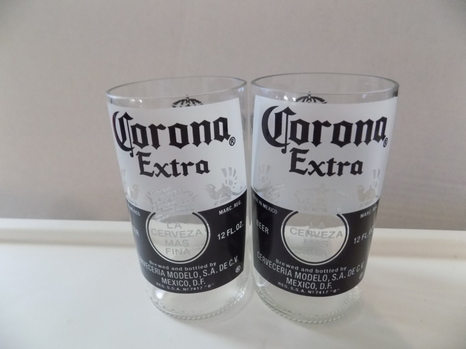 Upcycled corona extra beer bottle drinking glasses set of 2 for How to make corona glasses