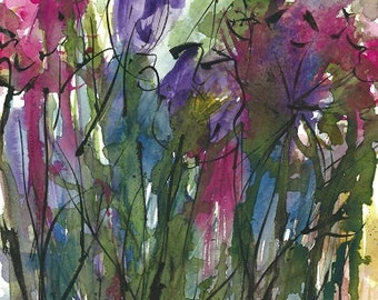 Original Abstract floral mixed media painting floral ink painting abstract floral art  18 X 27 cm Arches Hot pressed 140lb Watercolor paper