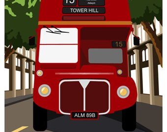 LONDON BUS. Travel poster of London Red Routemaster Bus. A4, A3, A2. Retro Art print
