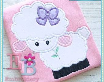 Lamb with Bow Applique - This design is to be used on an embroidery machine. Instant Download