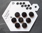 Fabric Covered Buttons - 8 x 14mm buttons, handmade button, black buttons, gold flecked buttons, metallic buttons, firework buttons, 1547