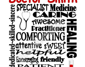 Personalized Doctor Physician Practitioner Specialist Gift Subway Art Sign