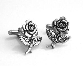 Rose Flower Cufflinks, Fine English Pewter, Handmade (Ba)