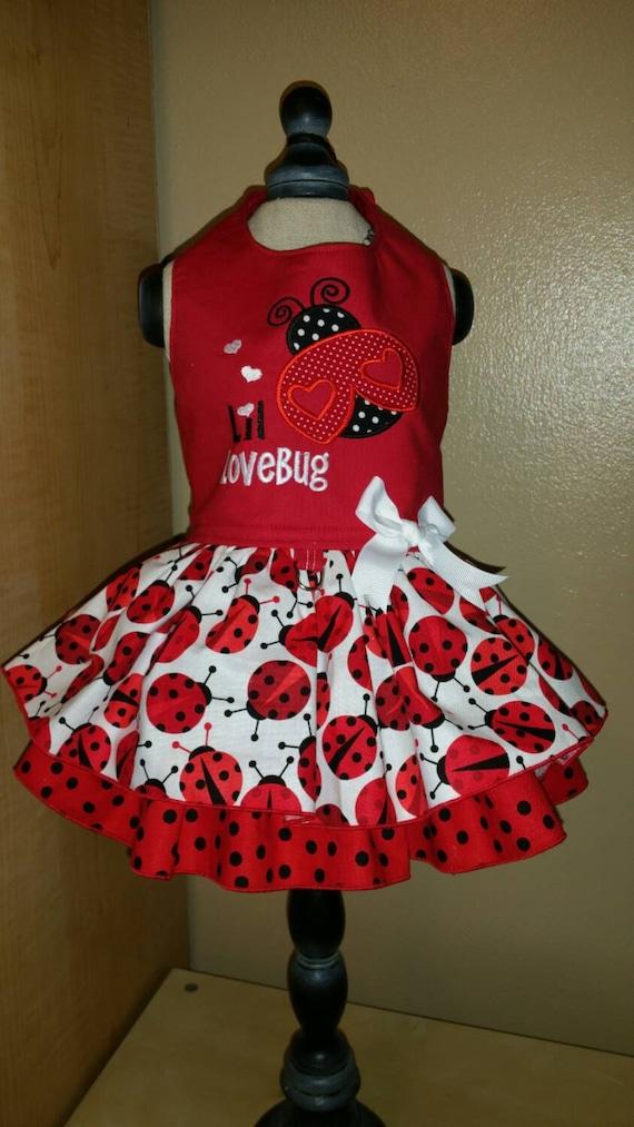 Valentine Ladybug Dog Dress