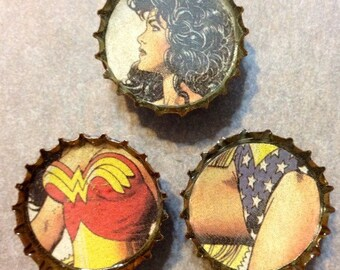 Wonder Woman Upcycled Bottlecap Magnets