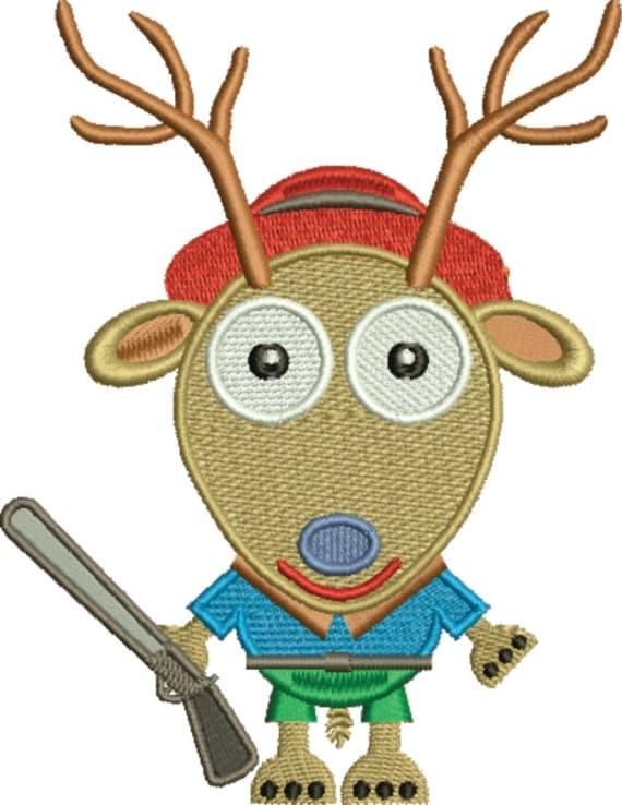 Deer with gun rifle reindeer embroidery design file