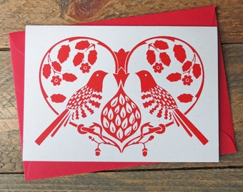 Hand Printed heart Partridge Greetings Card