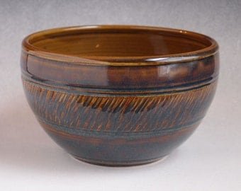 Wheel Thrown Serving Bowl in Brown & Blue Textured Handmade Stoneware holds 48 oz for Side Dishes, Fruit, Snacks