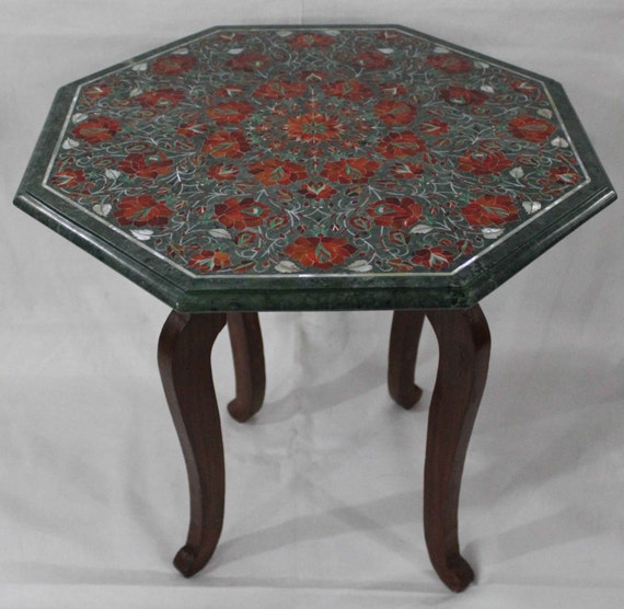 Octagonal Coffee Table Top Marble Inlay Work Hand Made Pietra