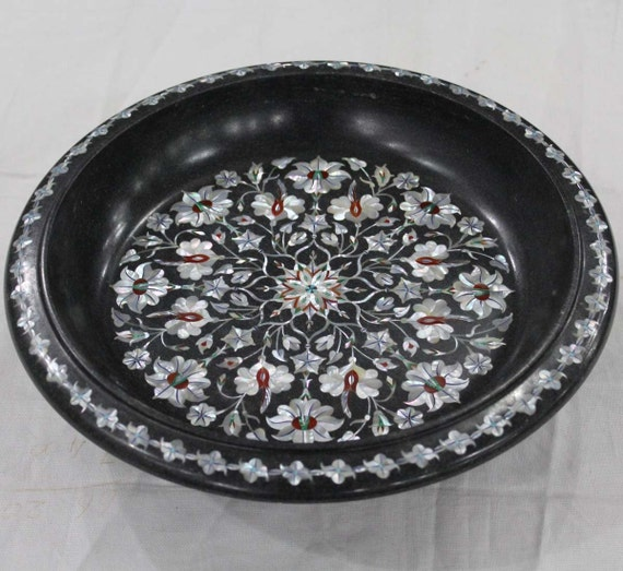 Italian Marble Inlay Bowl : Fruit bowl black marble mother of pearl inlay flower bowls for