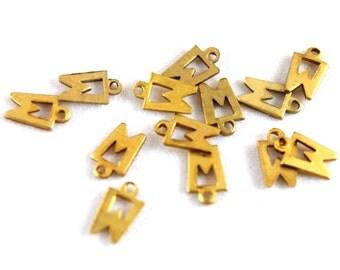 12x Vintage Brass W Initial Charms - M030-W