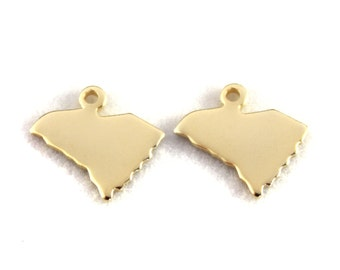 2x Gold Plated Blank South Carolina State Charms - M115-SC