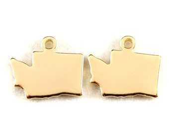 2x Gold Plated Blank Washington State Charms - M115-WA