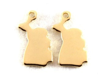 2x Gold Plated Blank Michigan State Charms - M115-MI