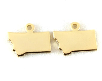 2x Gold Plated Blank Montana State Charms - M115-MT