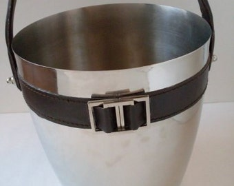 Vintage Equestrian Leather Stainless Steel Ice Bucket  TheWarehouseShelf Collectibles We Ship Internationally