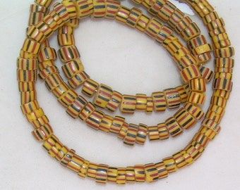 African trade, glass, yellow, red, black striped beads, vintage