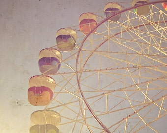 Ferris Wheel Photography, Vintage Style Ferris Wheel Print, Children's Nursery, Home Decor Ferris Wheel, Vintage Aged Style Photography