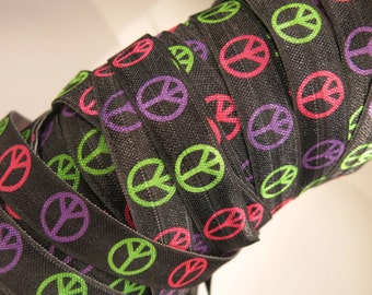"3 yards of FOE 5/8 inch ""peace"" fold-over elastic ribbon"