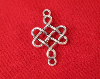 "10pc ""chinese knot"" connector charms in antique silver style (BC419)"