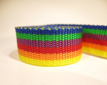 3 yards of 1 inch / 25mm rainbow webbing, strap (WB21)