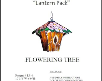 """Flowering Tree Stained Glass Lamp (Lantern) Pattern © Dodge Studio - 10.75"""" wide by 9"""" tall"""