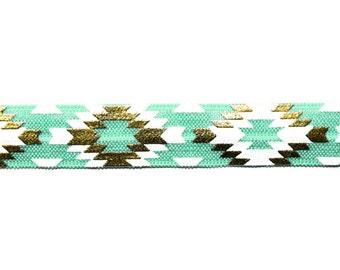 "5/8"" Fresh Mint White/Gold Fashion Aztec,  Shiny Printed Fold Over Elastic"