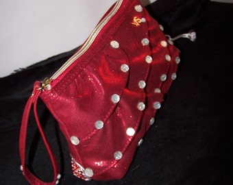 Victoria Secret Wristlet Embellished with Rhinestones & Silver Trim  Metallica  Red Color  Stunning