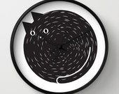 Black cat wall clock, cat wall art, black cat, feline clock, modern clock, clock meow, home decor cat