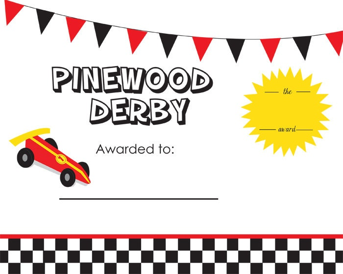 Cub Scout Pinewood Derby Award Certificate// by ...