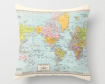 World Map Pillow - world map, travel decor, wanderlust,  Vintage Maps, unique, colorful