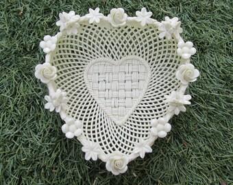 Basket - Belleek - Heart Basket - Porcelain Floral Heart Basket - No color - Vintage