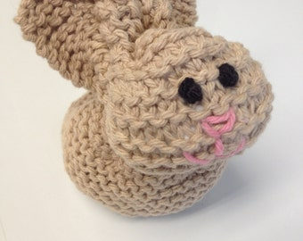 Adorable 100% Cotton Bunny Hand Knit Perfect for the Easter Basket