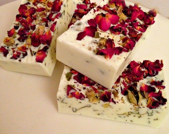 Soap, rose soap,  handmade soap,rose petals, soap in handmade, hand cut soap, 4.oz bar, fresh cut roses, love soap,gifts for her,