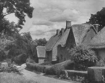 Thatched Cottages at Great Tew Oxfordshire 1930s vintage Print B & W Cottage River Vintage ephemera repurposed old art print