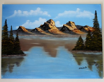 Mountians on the Lake Oil Painting